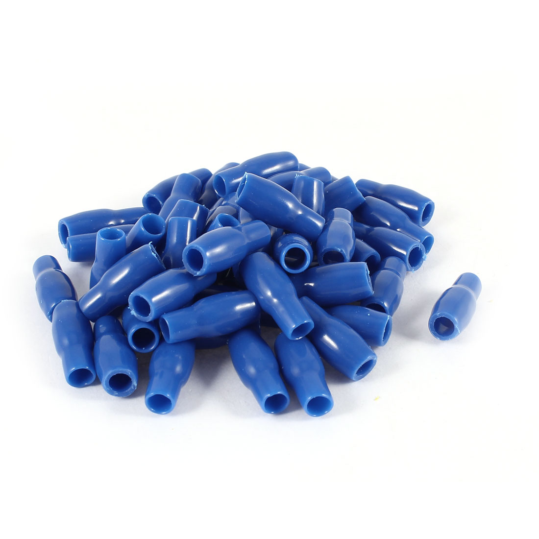 50 Pcs Blue Soft PVC Wire V-3.5 4mm2 Crimp Terminal End Insulated Sleeves Caps Cover