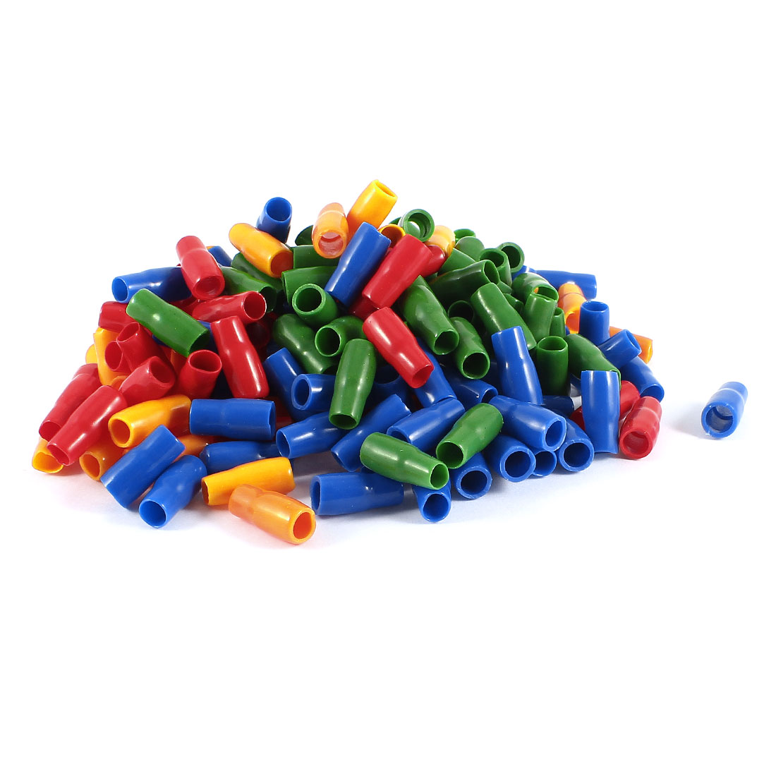 200 Pcs Soft PVC Wire V-8 10mm2 Crimp Terminal End Insulated Sleeves Cover Green Red Blue Orange