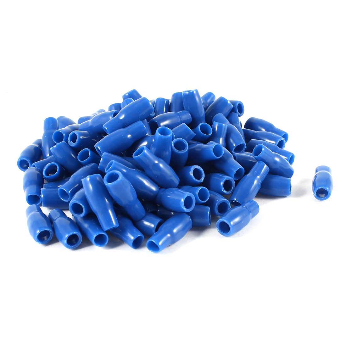 100 Pcs Blue Soft PVC Wire V-3.5 4mm2 Crimp Terminal End Insulated Sleeves Caps Cover