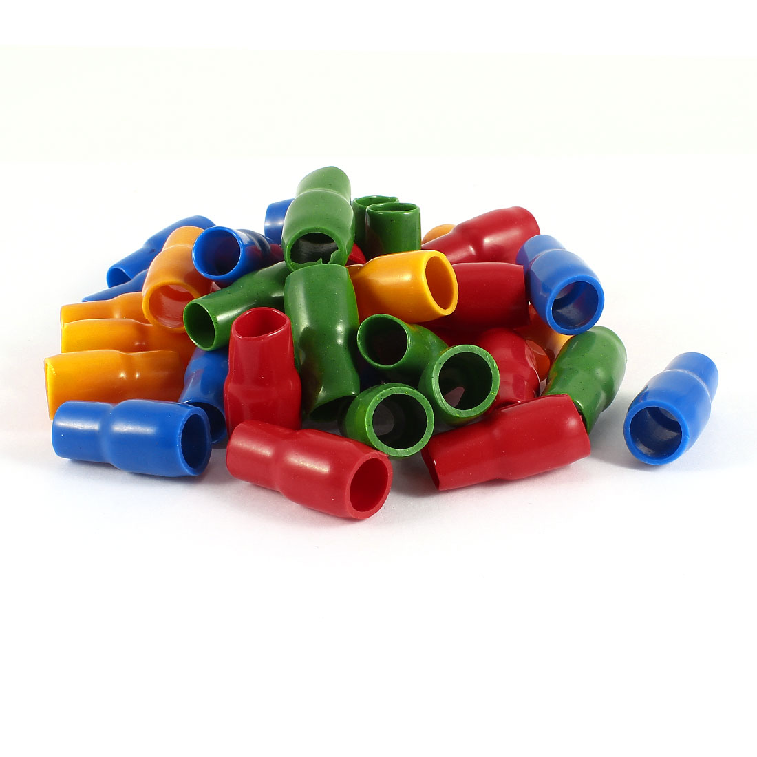 40 Pcs Soft PVC Wire V-22 25mm2 Crimp Terminal End Insulated Sleeves Cover Green Red Blue Orange