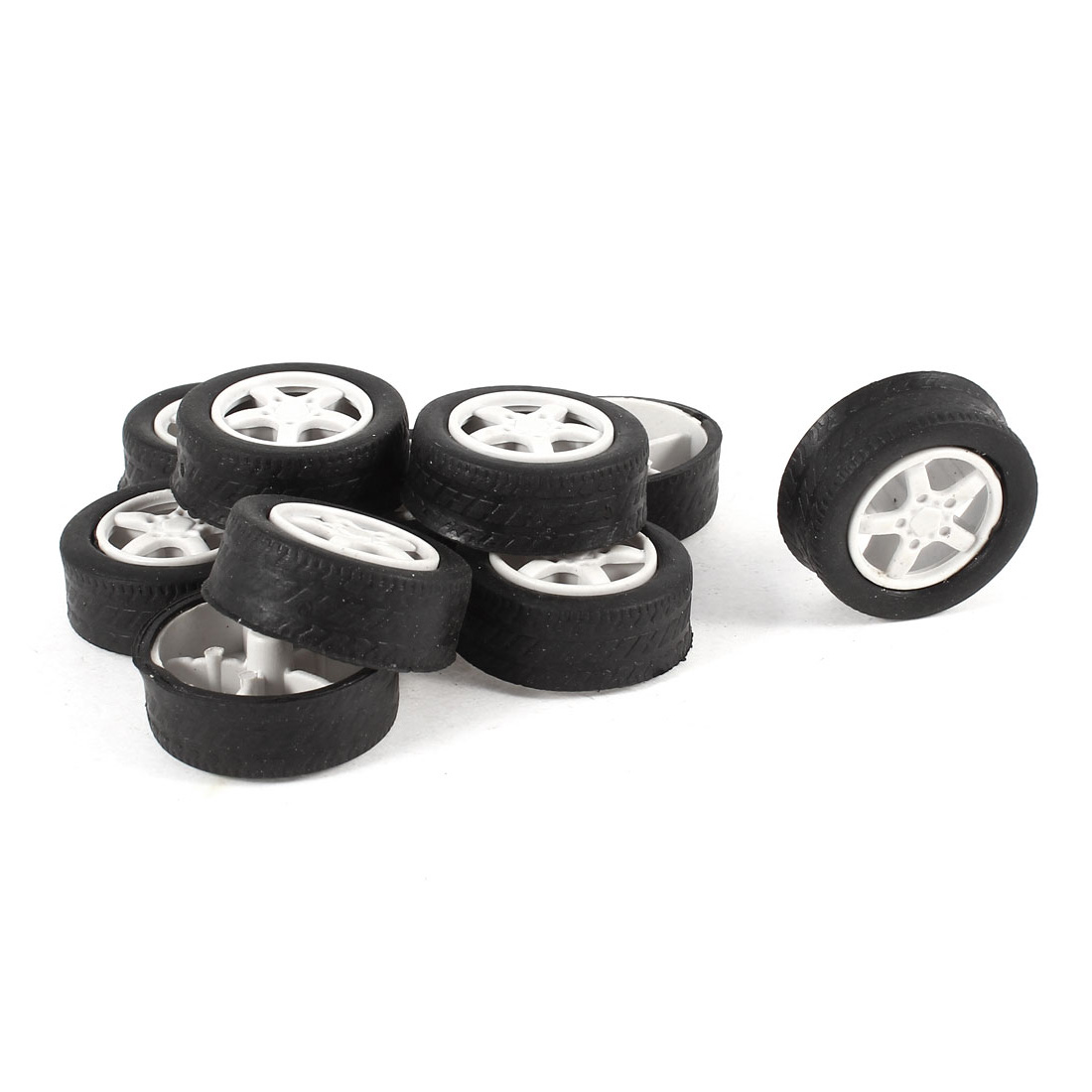 10 Pcs 31mm Dia Rubber Roll Plastic Spoke Car Auto Model Toys Wheels