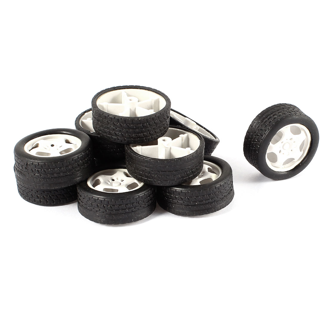 10 Pcs 34mm Dia Rubber Roll Plastic Spoke Car Auto Model Toys Wheels