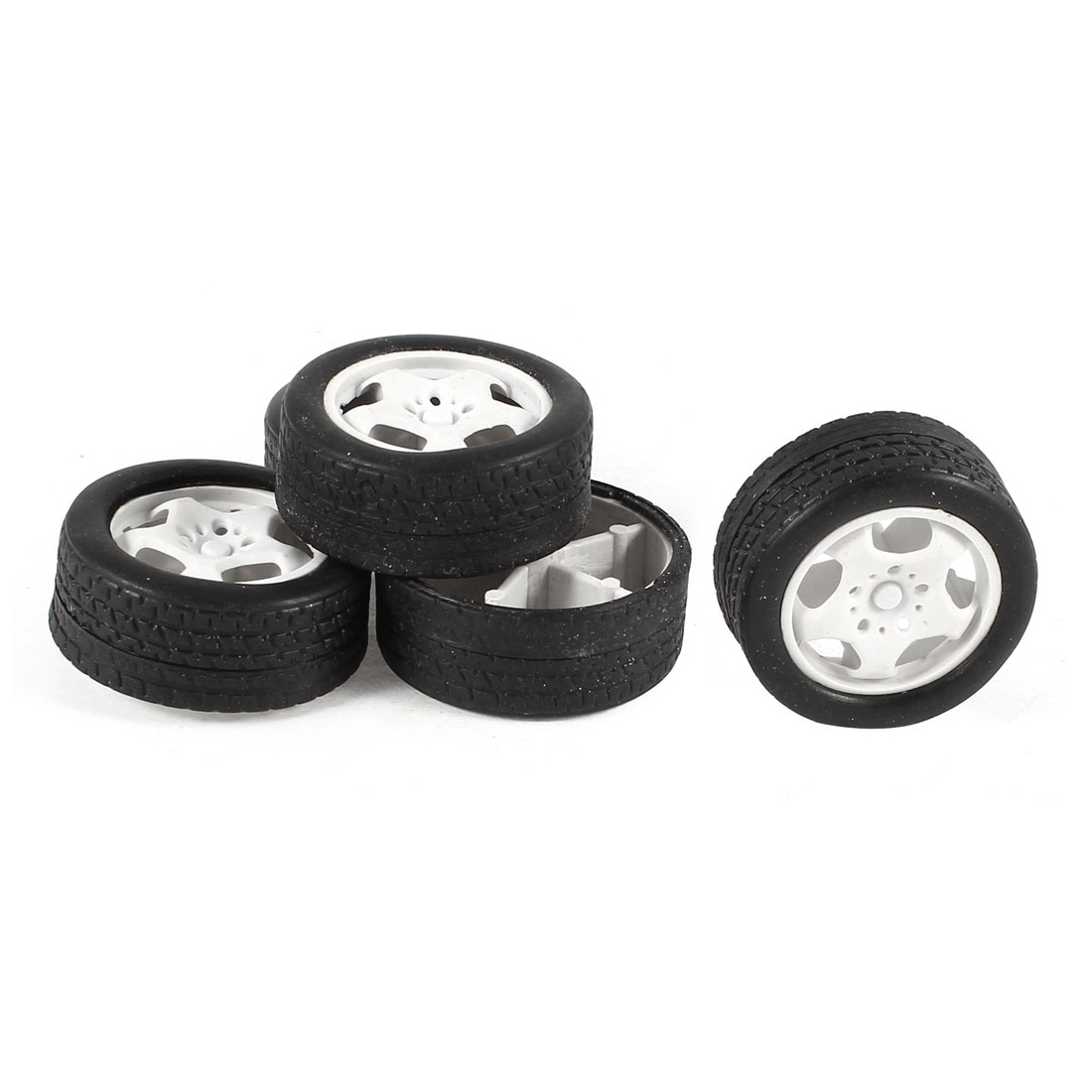 5 Pcs 34mm Dia Rubber Roll Plastic Spoke Car Auto Model Toys Wheels