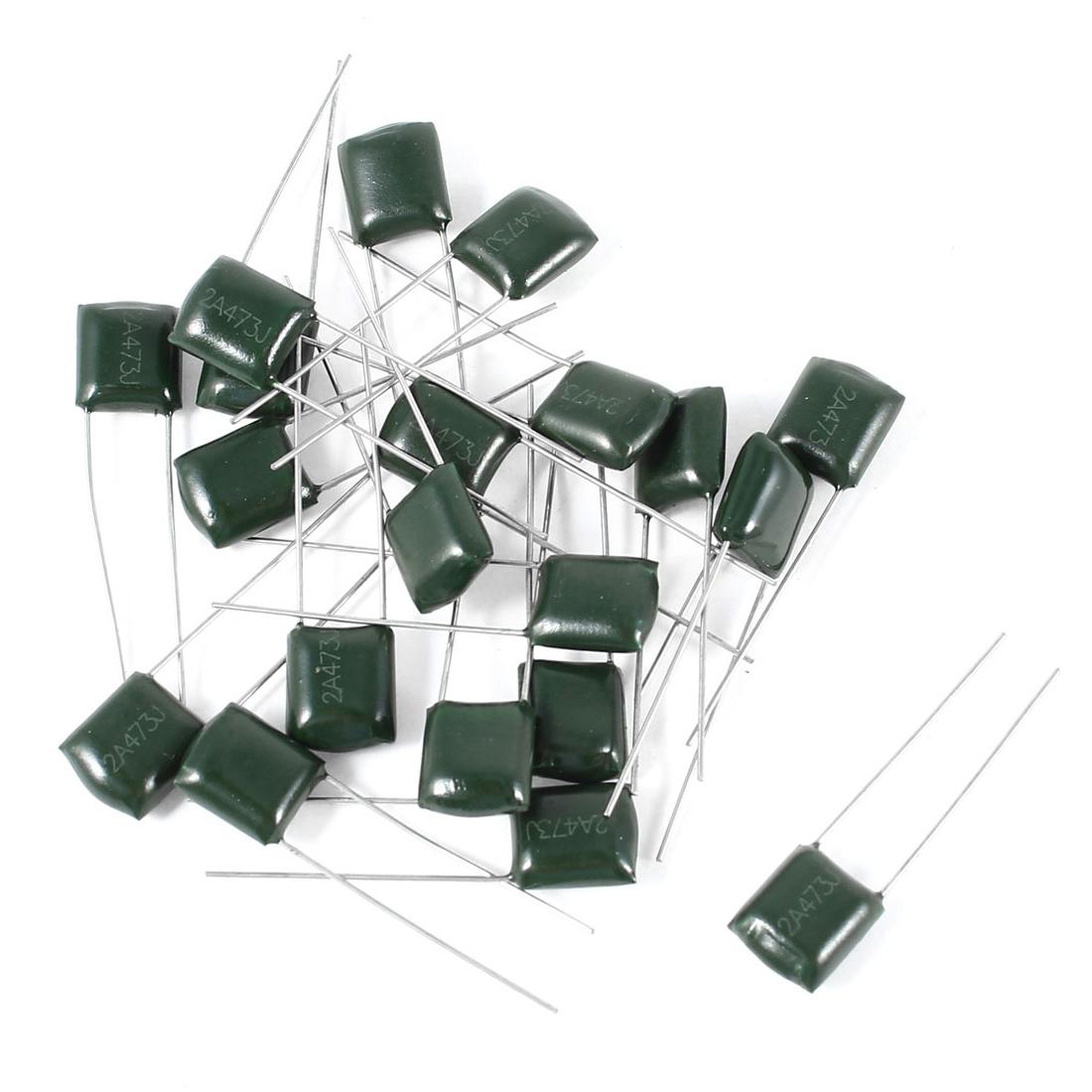 20 Pcs 2A473J 100V 47000pF 5% Mylar Cap Polyester Film Capacitors