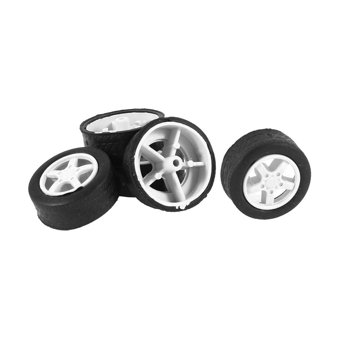 5 Pcs 31mm Dia Rubber Roll Plastic Spoke Car Auto Model Toys Wheels Black White
