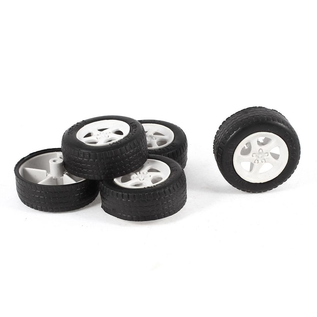 5 Pcs 36mm Dia Rubber Roll Plastic Spoke Car Auto Model Toys Wheels Black White