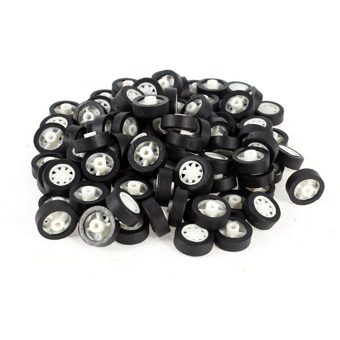 100 Pcs 11mm Dia Rubber Roll Plastic Spoke Car Auto Model Toys Wheels