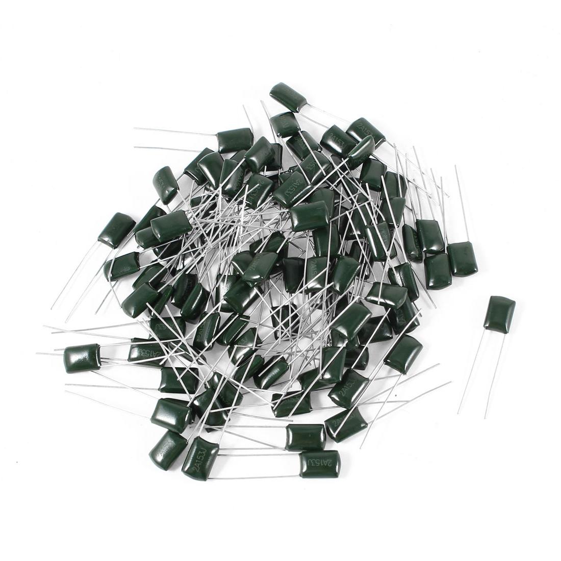 100 Pcs 2A153J 100V 15000pF 5% Mylar Cap Polyester Film Capacitors