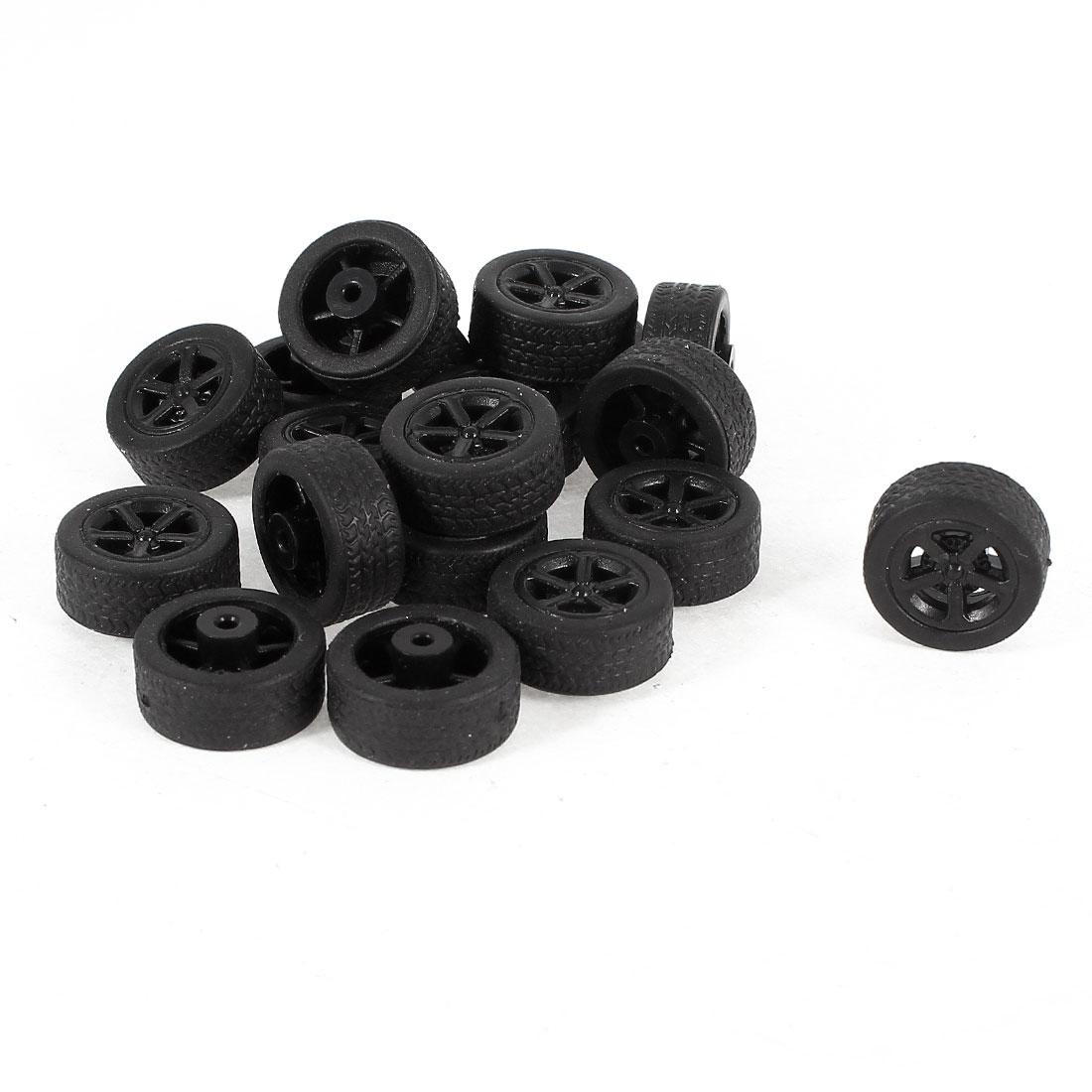 20 Pcs 16mm Dia Rubber Roll Plastic Spoke Car Auto Model Toys Wheels Black