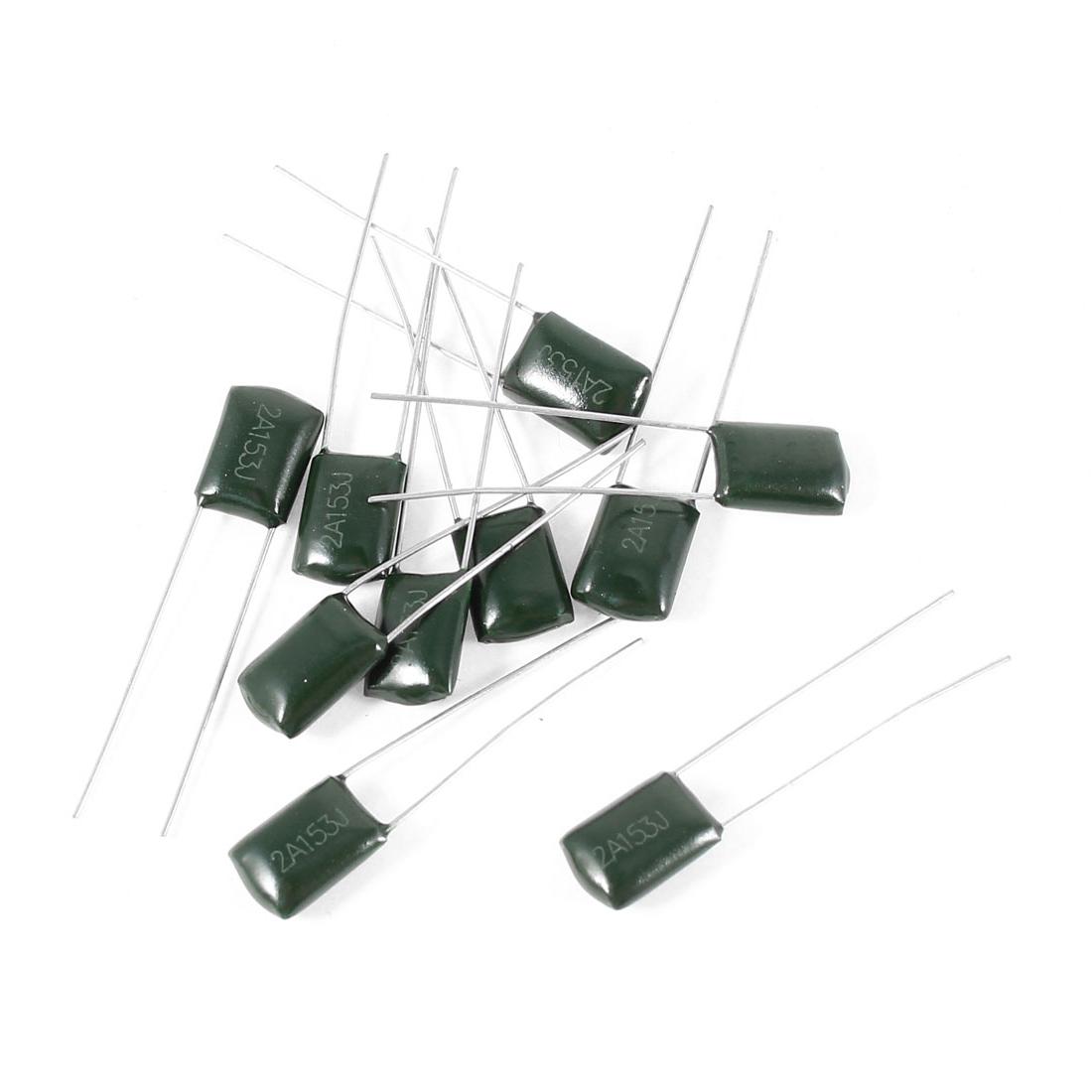 10 Pcs 2A153J 100V 15000pF 5% Mylar Cap Polyester Film Capacitors