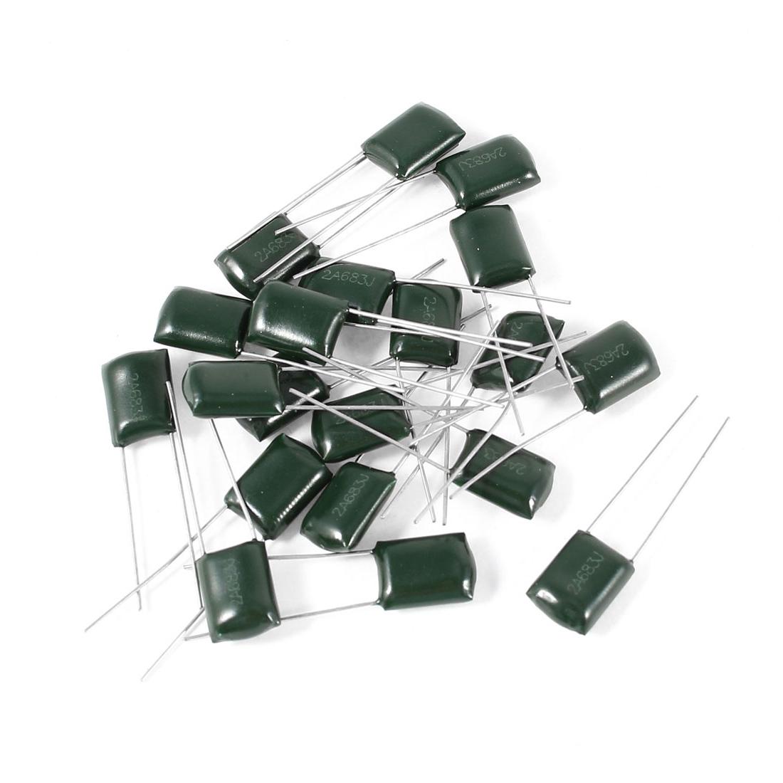 20 Pcs 2A683J 100V 68000pF 5% Mylar Cap Polyester Film Capacitors