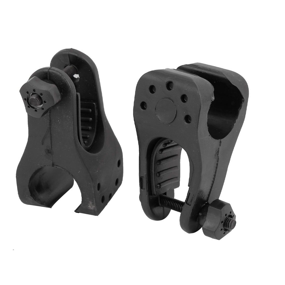 2 Pcs Black Rubber Bicycle Adjustable Flashlight Torch Lamp Holder