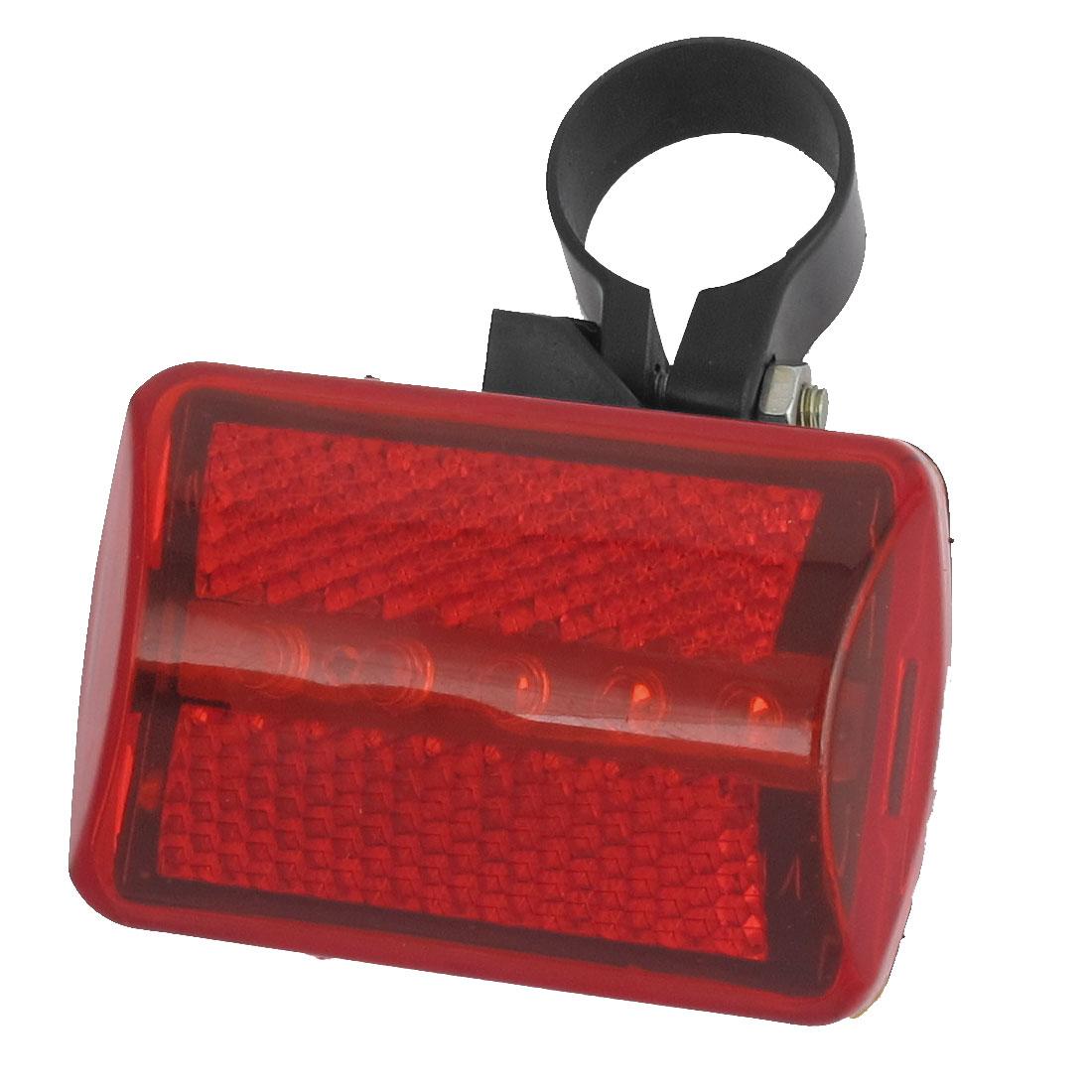 Plastic Shell Bike Backpack 6 Modes Red 5 LED Bulbs Safety Rear Light Lamp