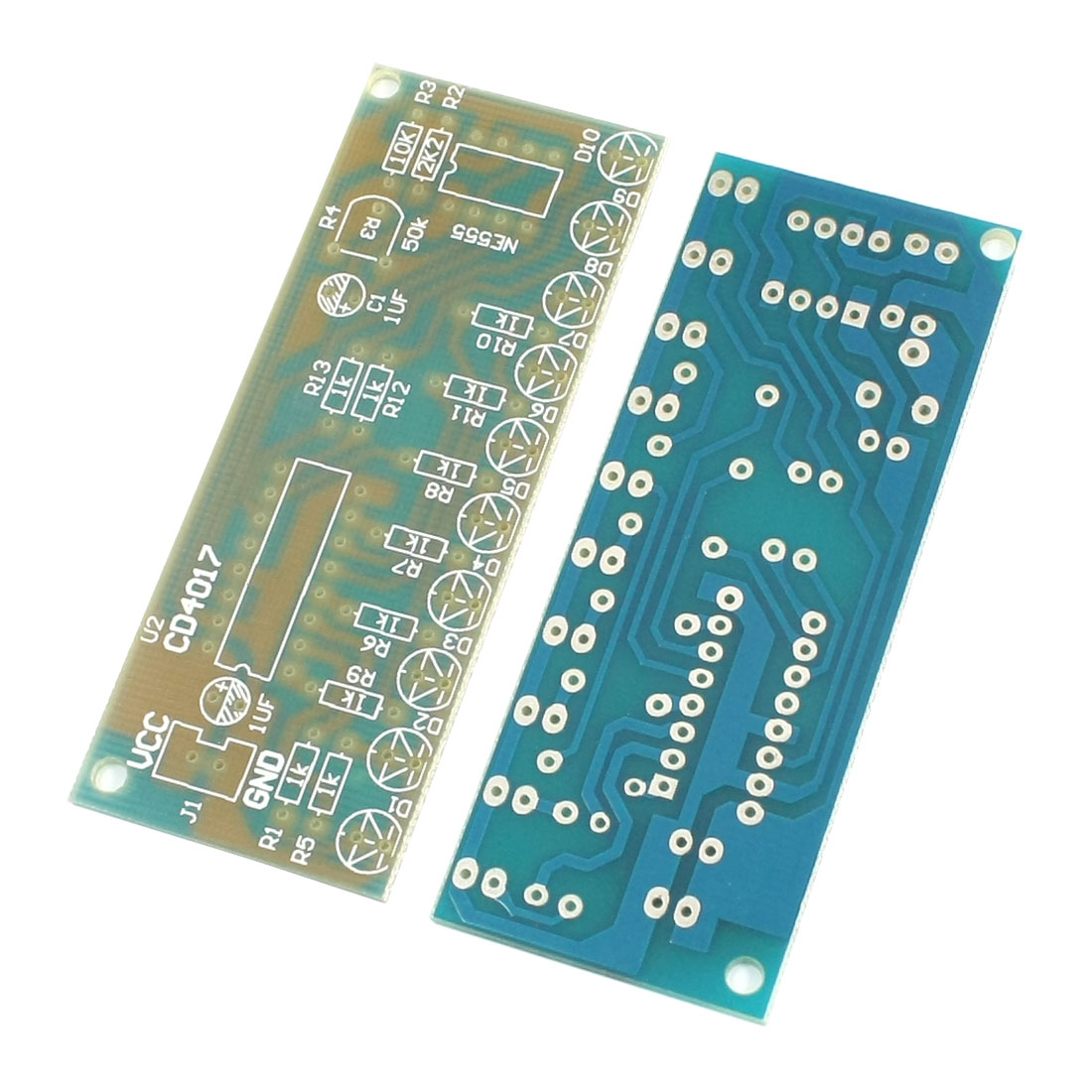 DIY Assembly 51 MCU NE555 CD4017 LED Lamp Module Blank Board 2pcs