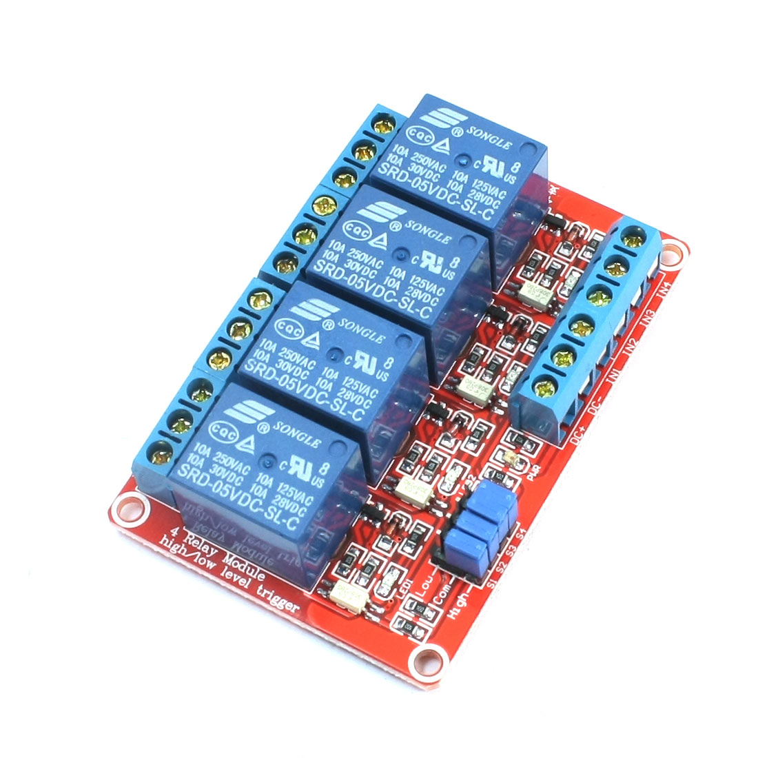 5V High/Low Level Trigger Opto-isolator 4-Channel Power Relay Module