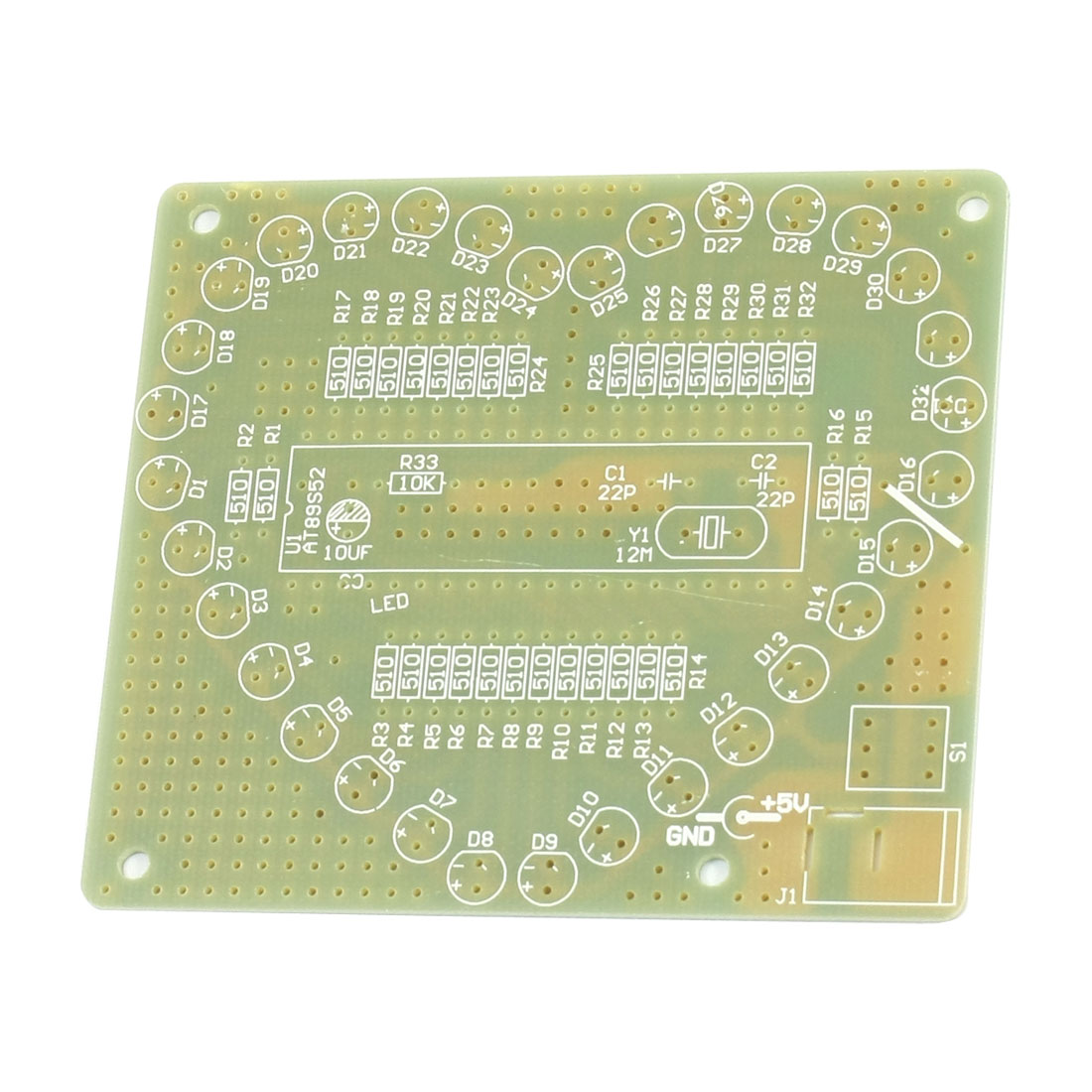 DIY Assembly 51 MCU Heart Shaped LED Lamp Module Blank Board