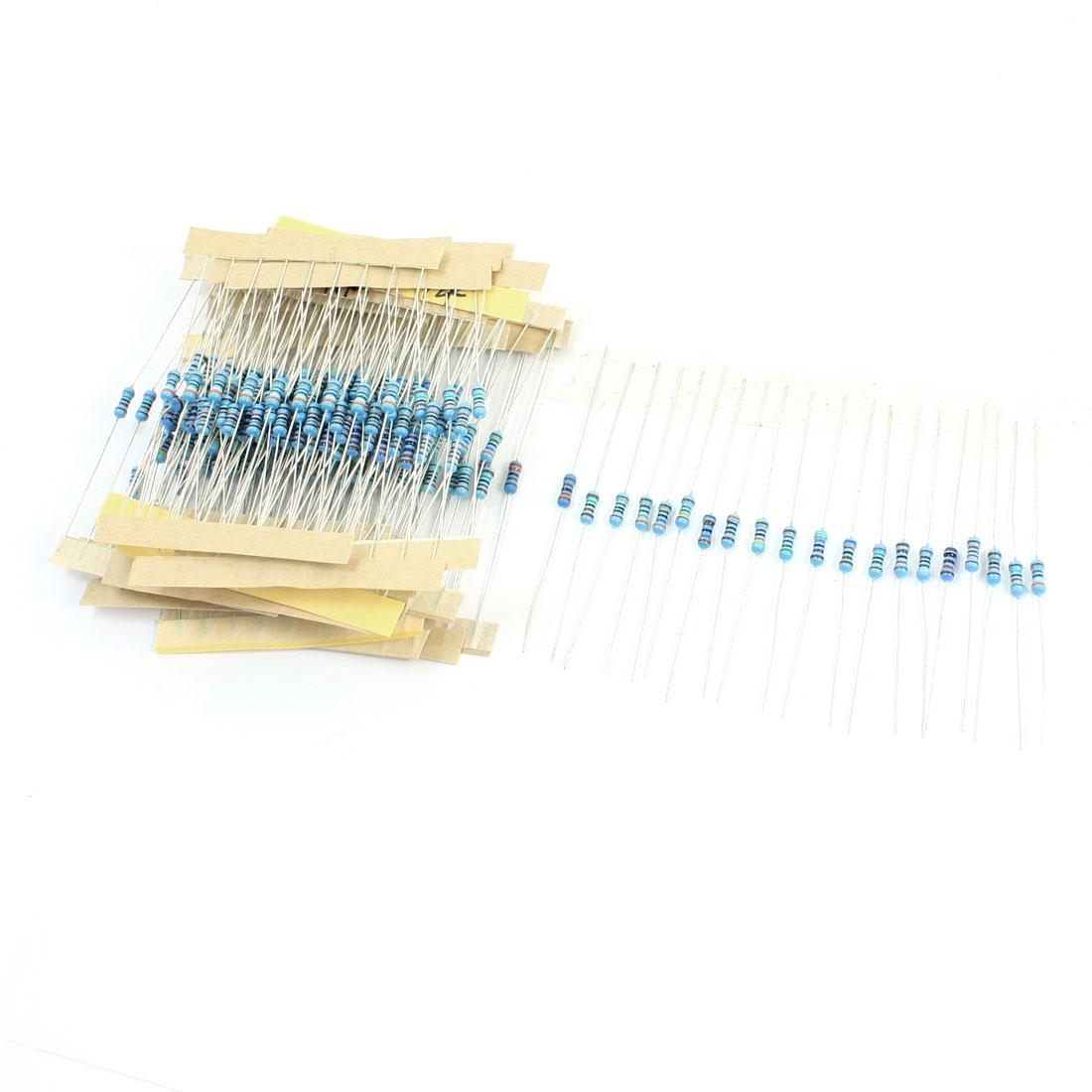 200pcs 20 Values 1.5K-18K Ohm 1% Tolerance 1/4W Metal Film Resistors