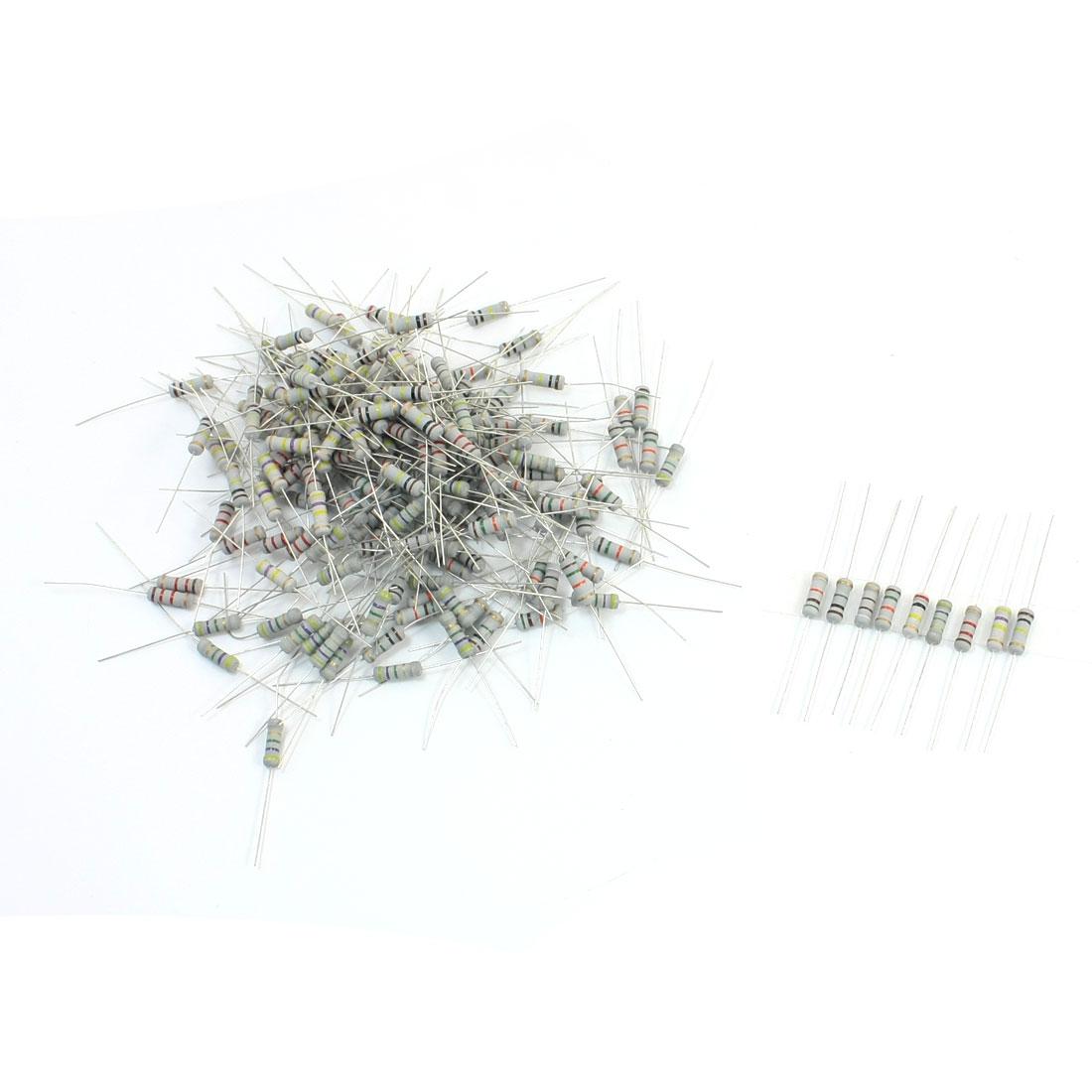 200pcs 10 Values Carbon Film Resistors 910-4.7M 5% 1W Assortment Set