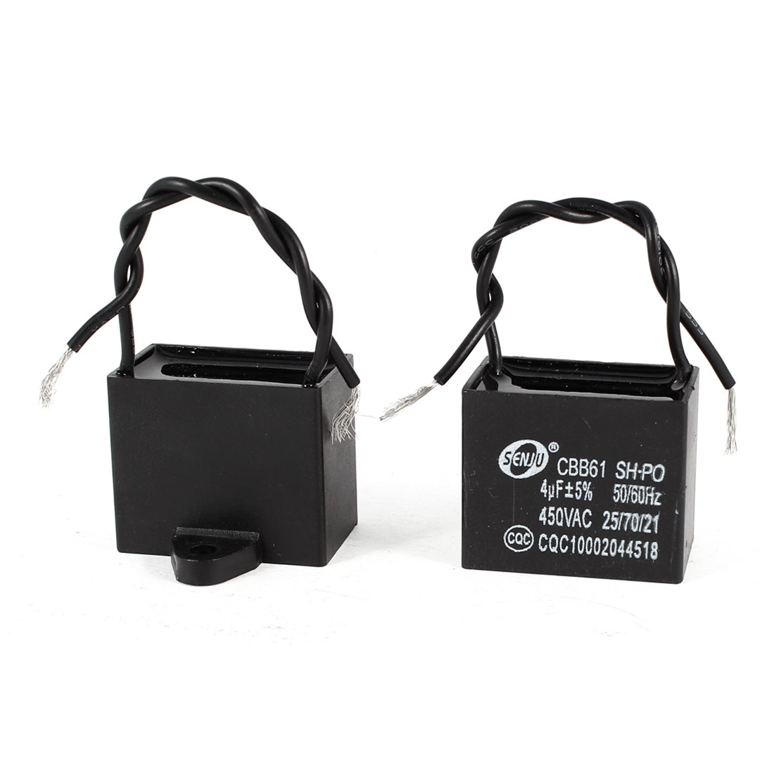AC 450V 4uF 9cm Wired Metalized Polypropylene Film Motor Run Capacitors 2 Pcs