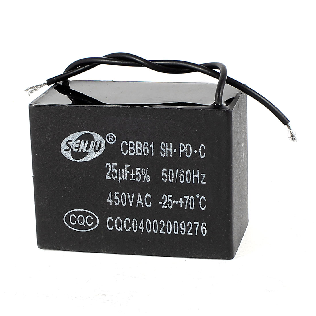 AC 450V 50/60 Hz 25uF 9cm Wired Metalized Polypropylene Film Motor Run Capacitor