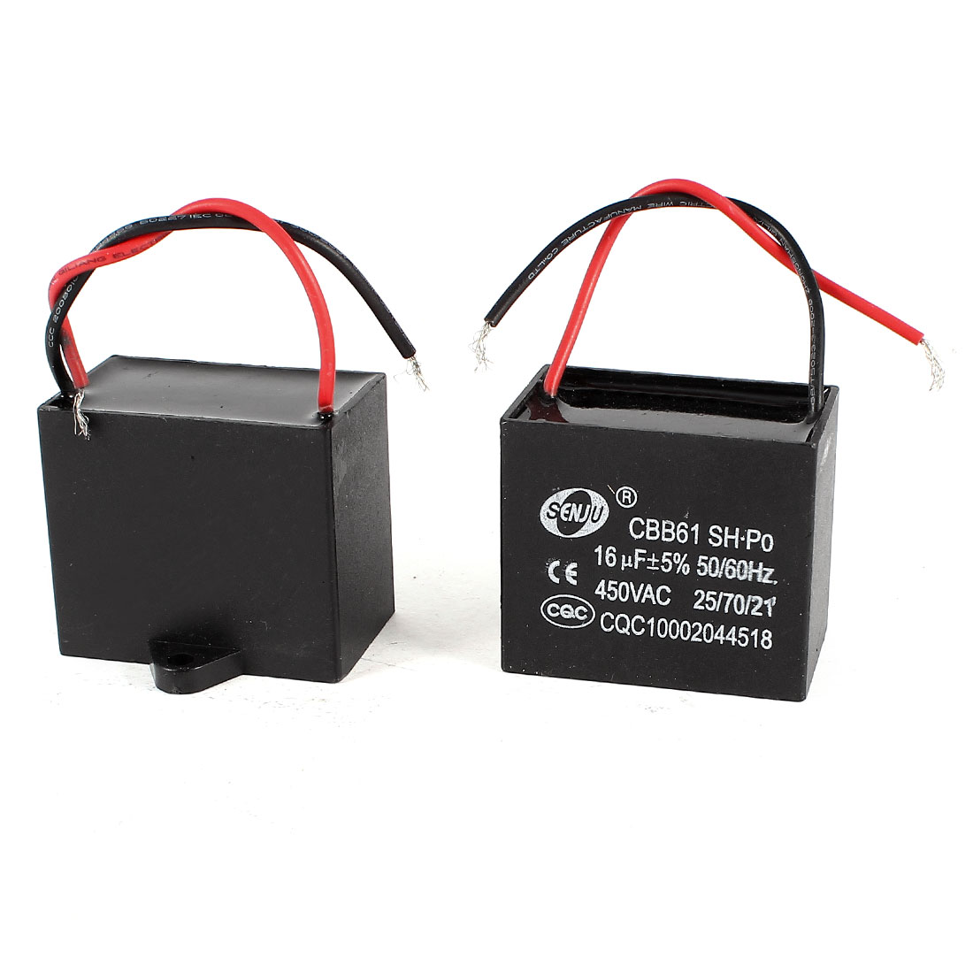 AC 450V 16uF 9cm Wired Metalized Polypropylene Film Motor Run Capacitor 2 Pieces