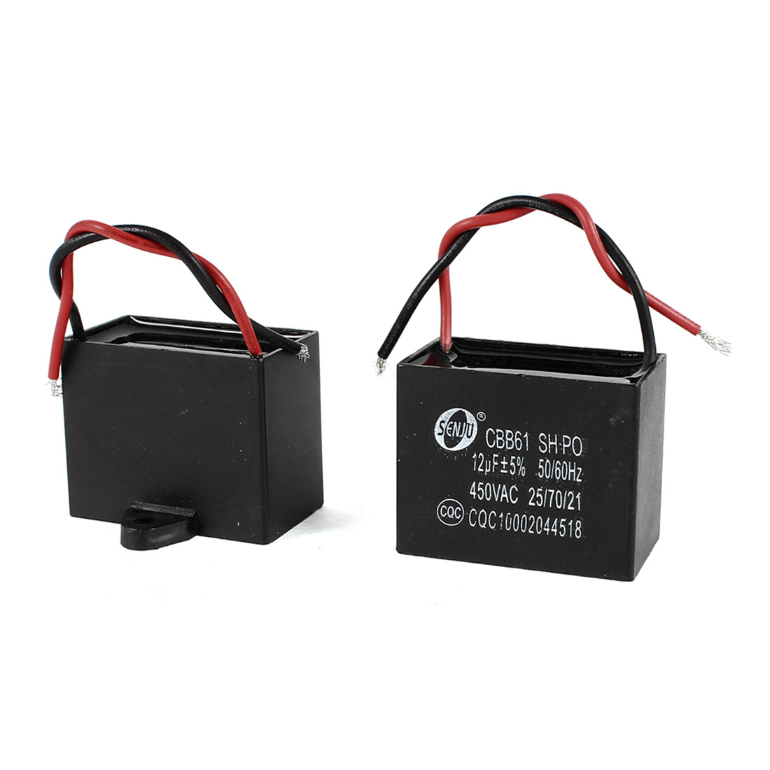 AC 450V 12uF 9cm Wired Metalized Polypropylene Film Motor Run Capacitor 2 Pieces