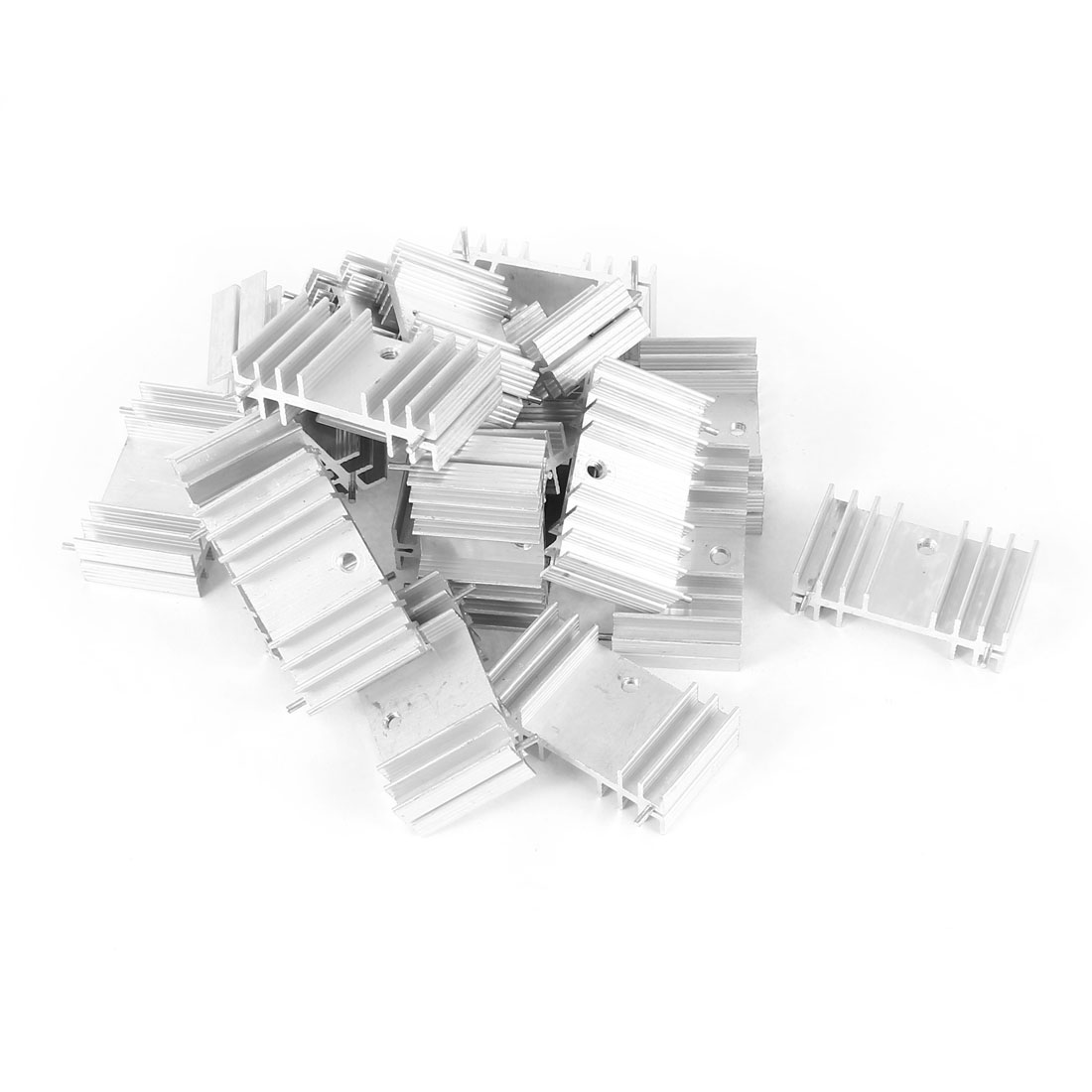 20 Pcs Screw Mount Aluminum Heatsink Heat Sink Radiator Cooling Cooler Fin w Needle 34mmx20mmx12mm Silver Tone for Mosfet IC