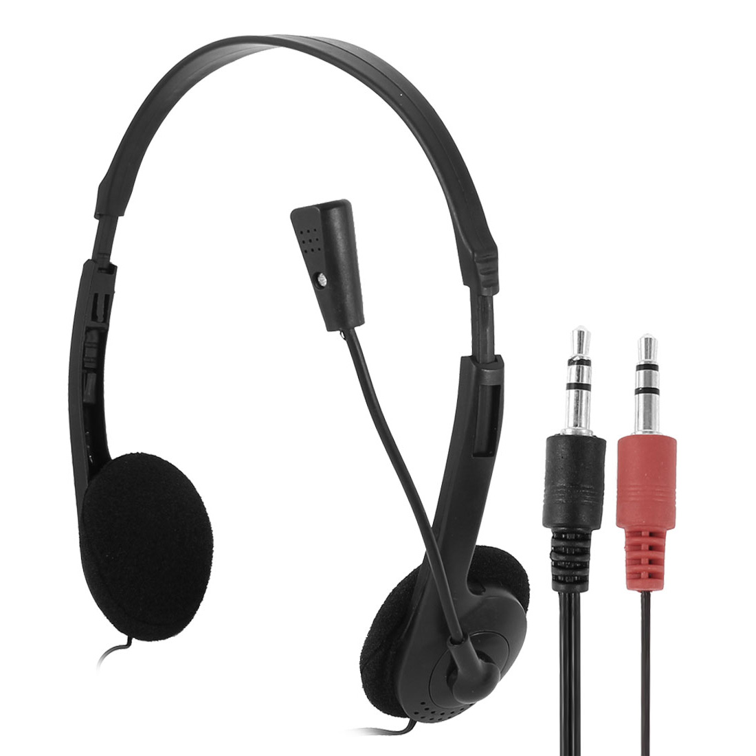 3.5mm Adjustable Head Band Sponge Ear Pad Microphone Headphone Earhone Black