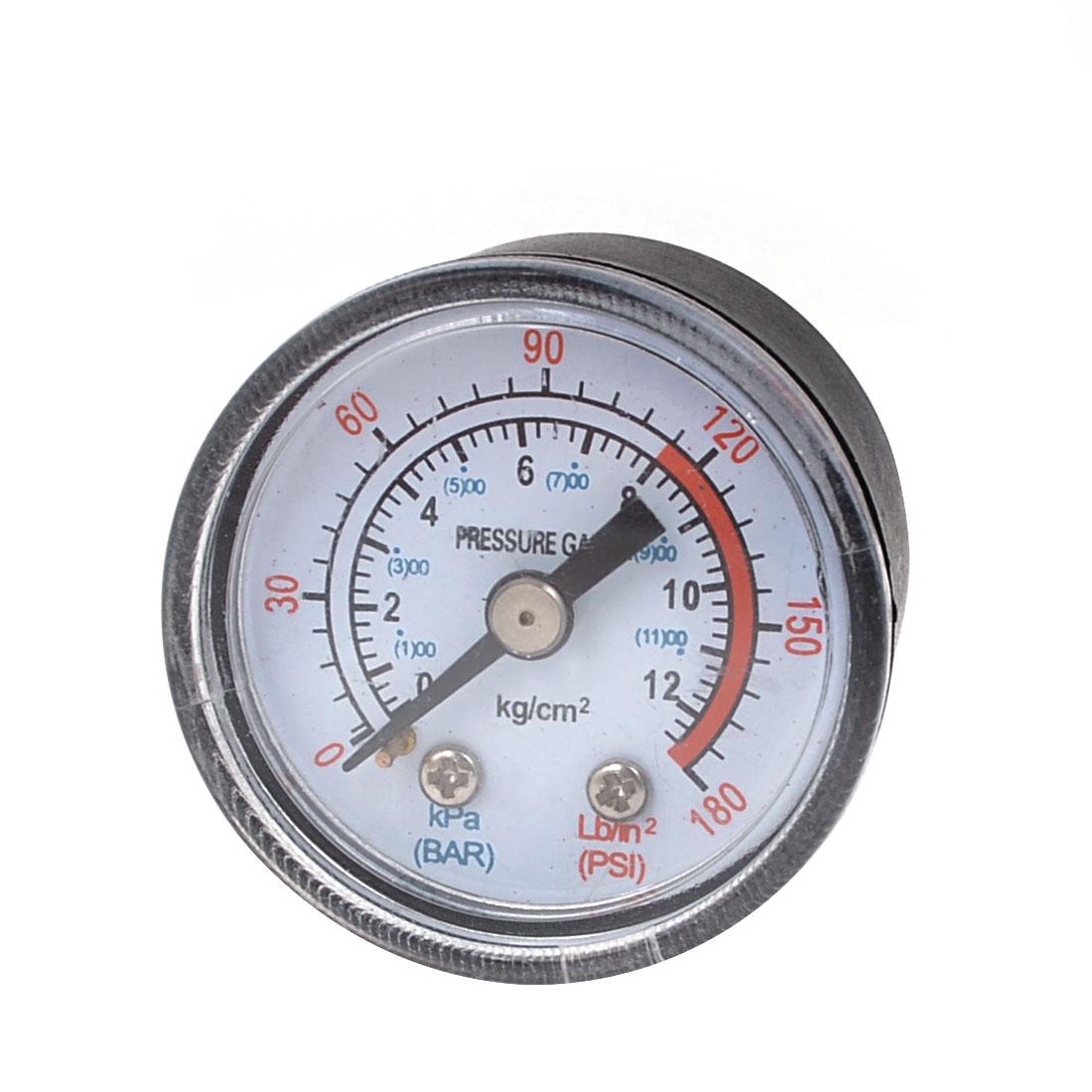 0-180psi 0-12 bar 10mm Male Thread Black Metal Case Pneumatic Pressure Gauge