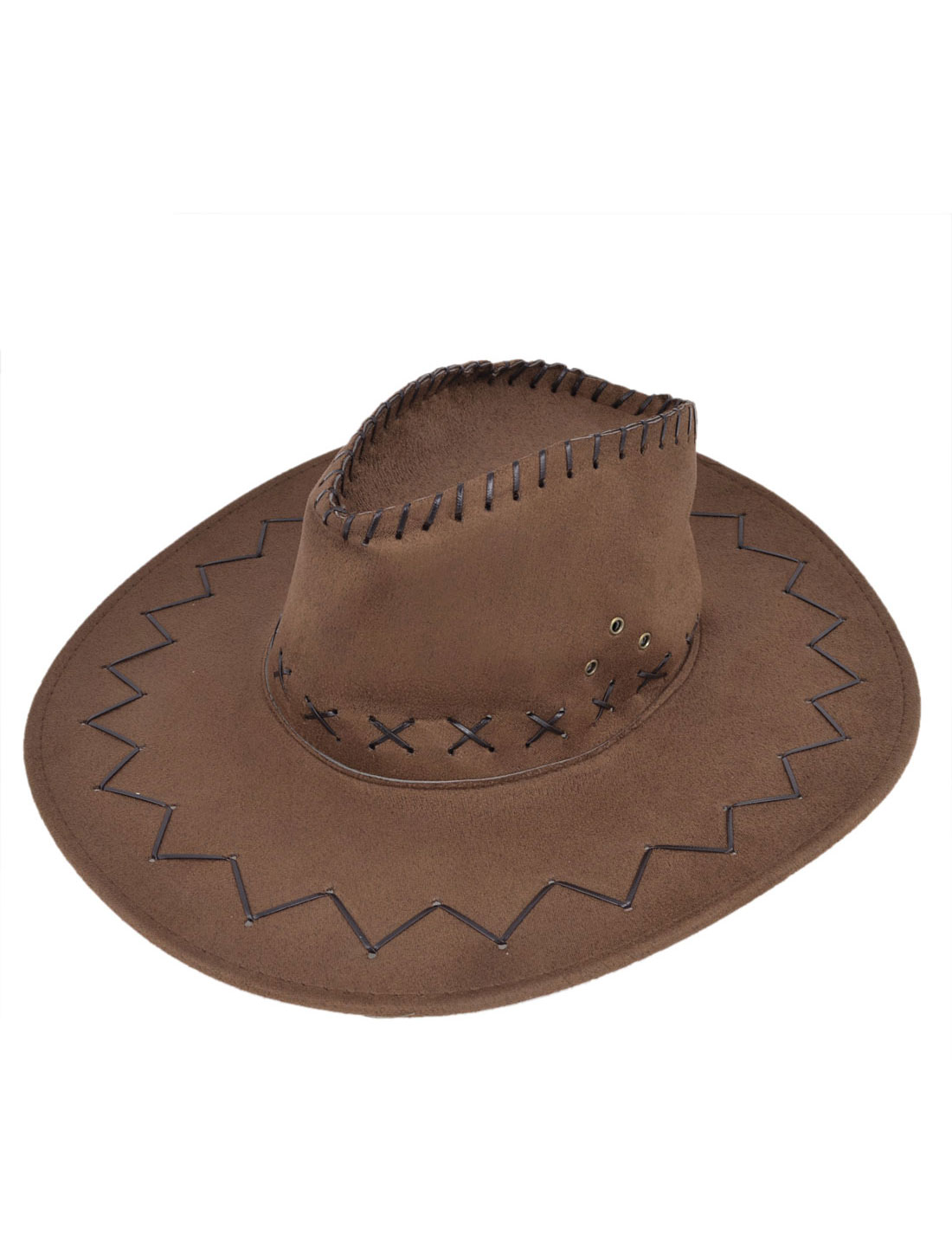 Men Neck Strap Eyelets Winding Floral Pattern Faux Suede Cowboy Hat Brown