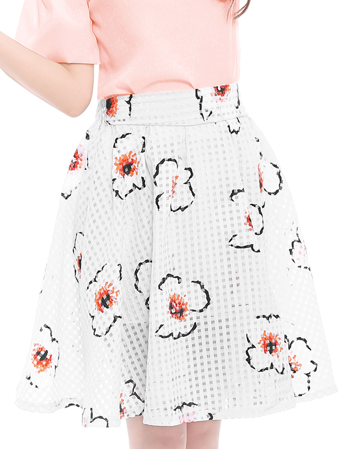Flower Pattern Above Knee Elastic Waist Graceful White S Full Skirt for Lady
