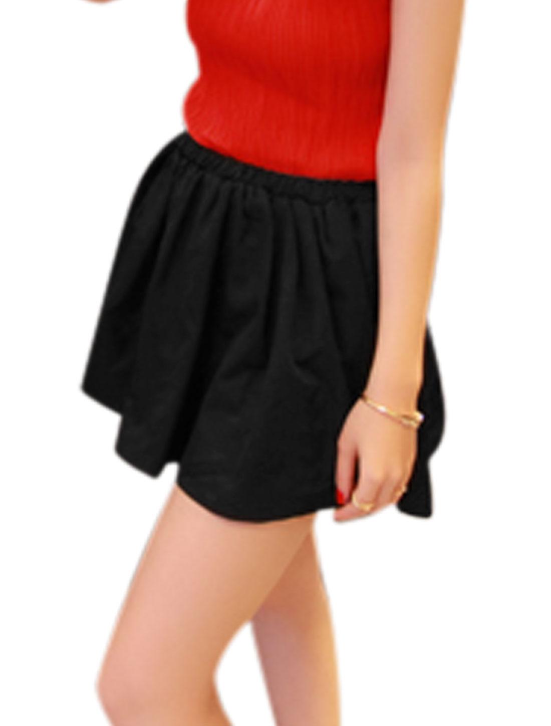 Ladies Stretch Waist Summer Fit Gathered Detail Skirt Black S