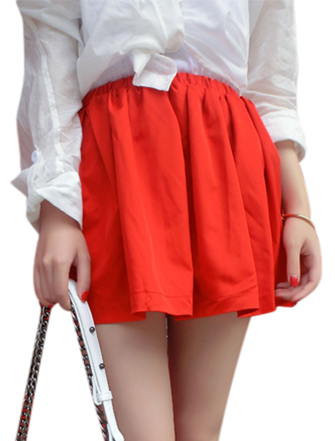 Women's Elastic Waist Gathered Detail Casual Mini Skirt Red S