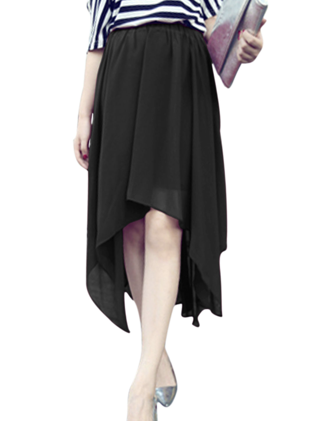 Lady's Summer Wear Elastic Waist Asymmetric Hem Black Chiffon Skirt XS