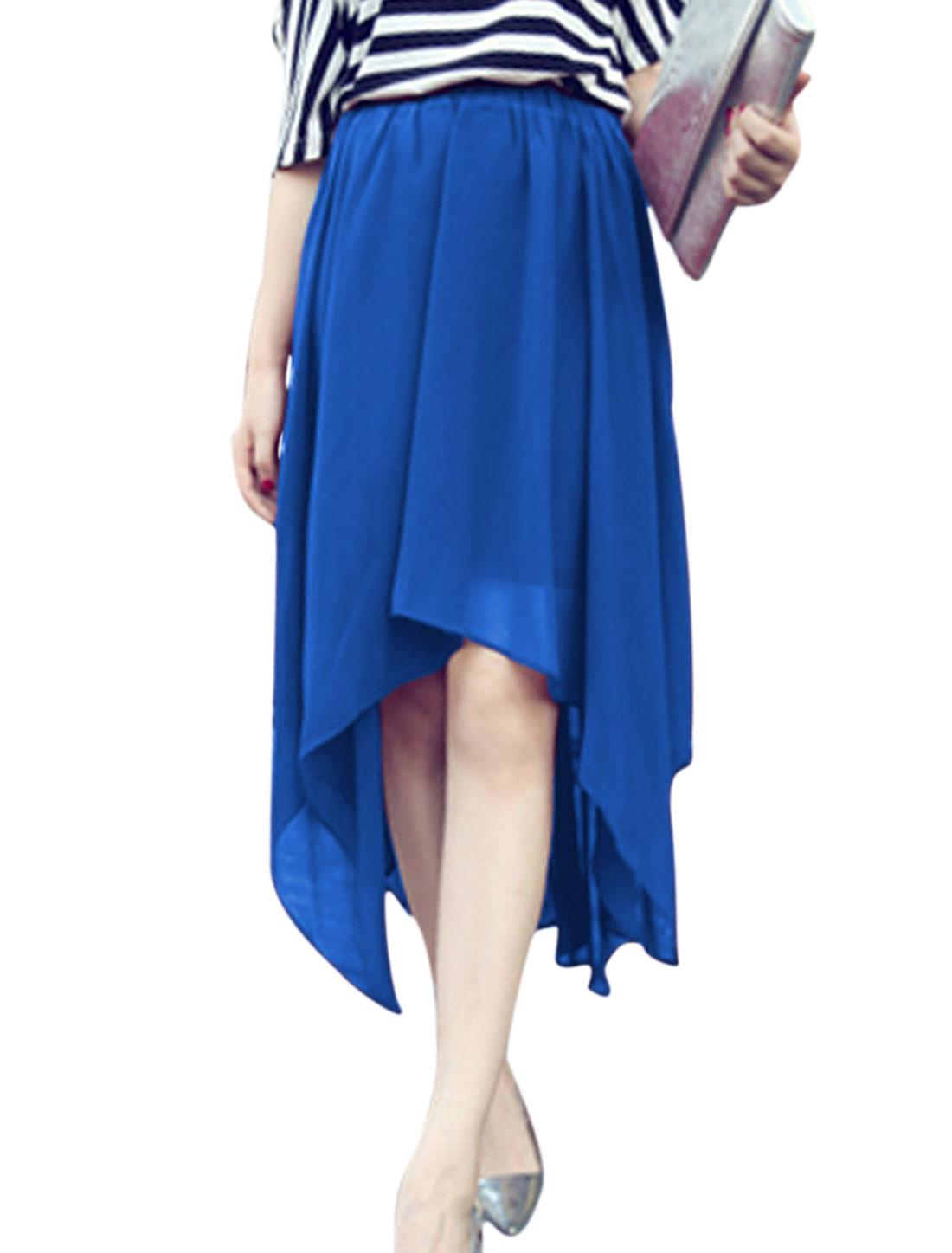 Women Fashion Style Irregular Hem Elegance Rolay Blue Chiffon Skirt XS