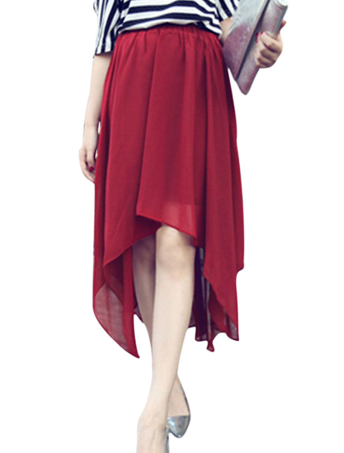 Lady's Stretchy Waist Aysmmetric Hem Burgundy Chiffon Skirt XS