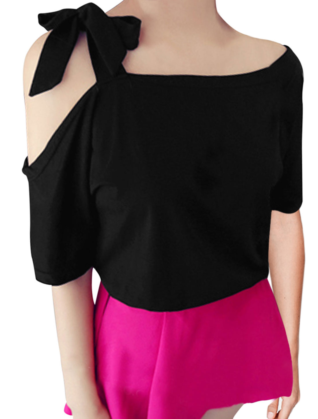 Lady Round Neck Half Sleeve Self-Tie Bowknot T-Shirt Black S