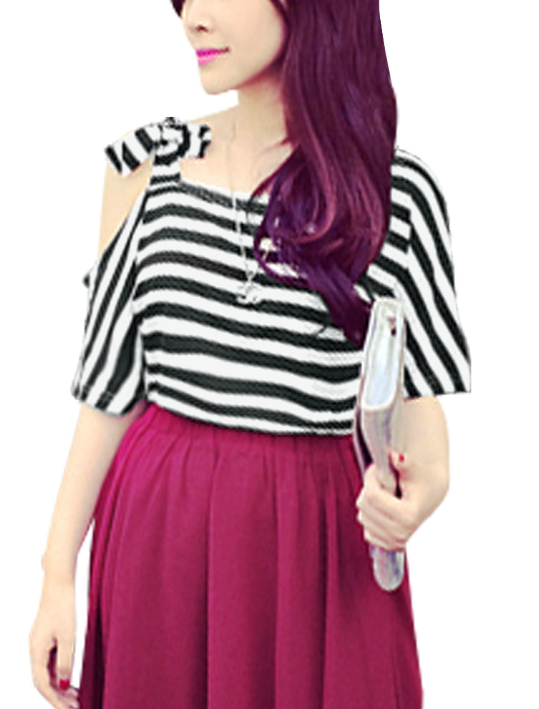 Lady Round Neck Half Sleeve Self-Tie Bowknot Stripes T-Shirt Black White S