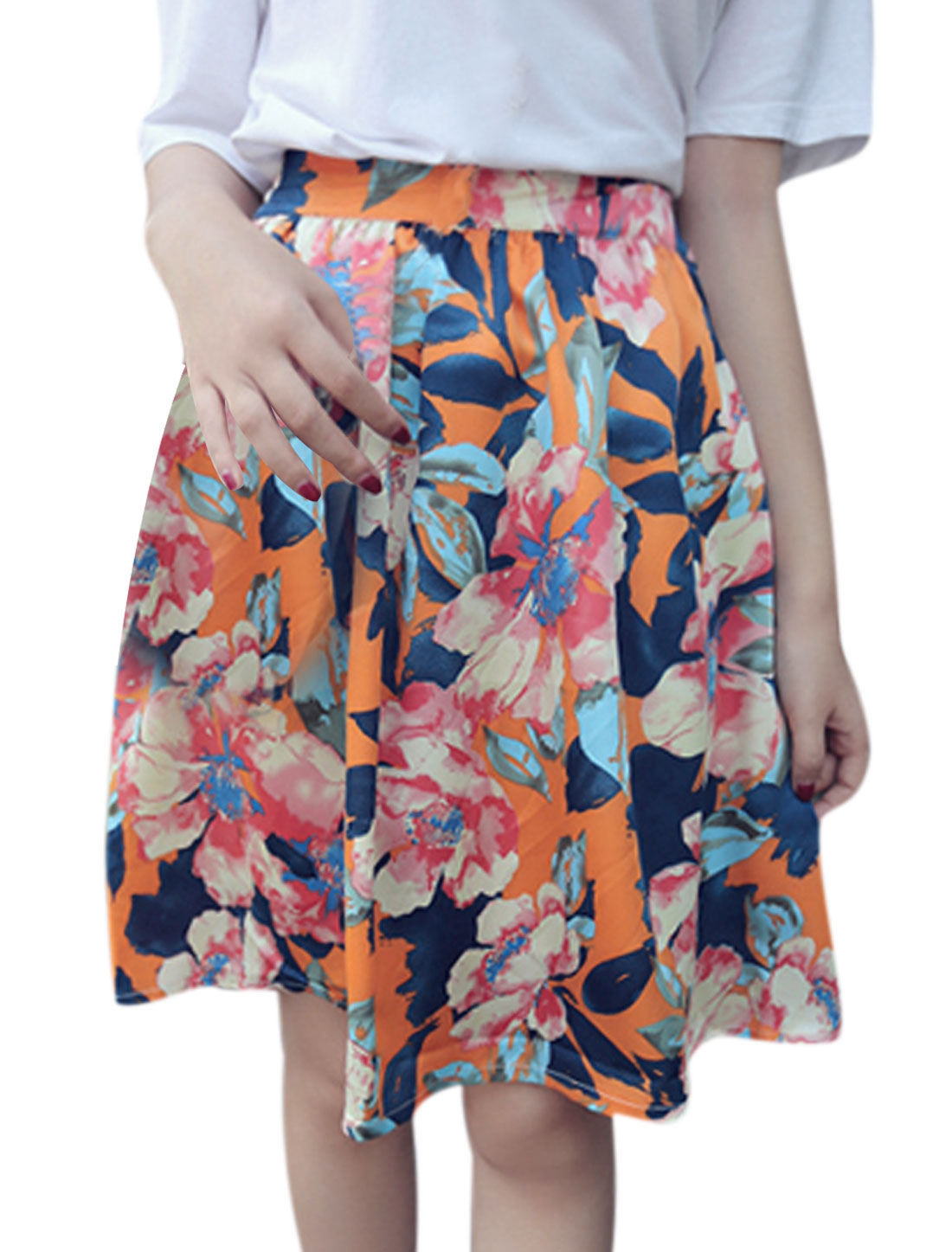 Women Stretchy Waist Floral Prints A-Line Skirt Orange XS