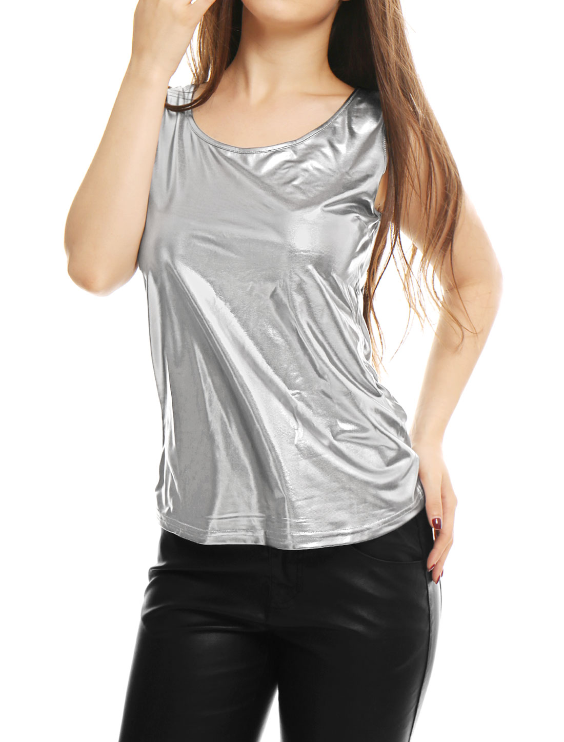Woman U Neck Sleeveless Stretch Metallic Tank Top Silver S