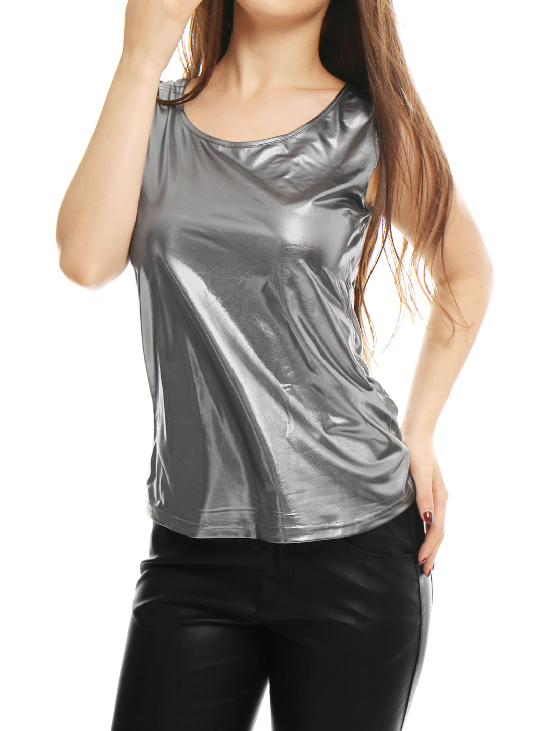 Women's Metallic Summer Fit Pullover Tank Top Silver Gray S