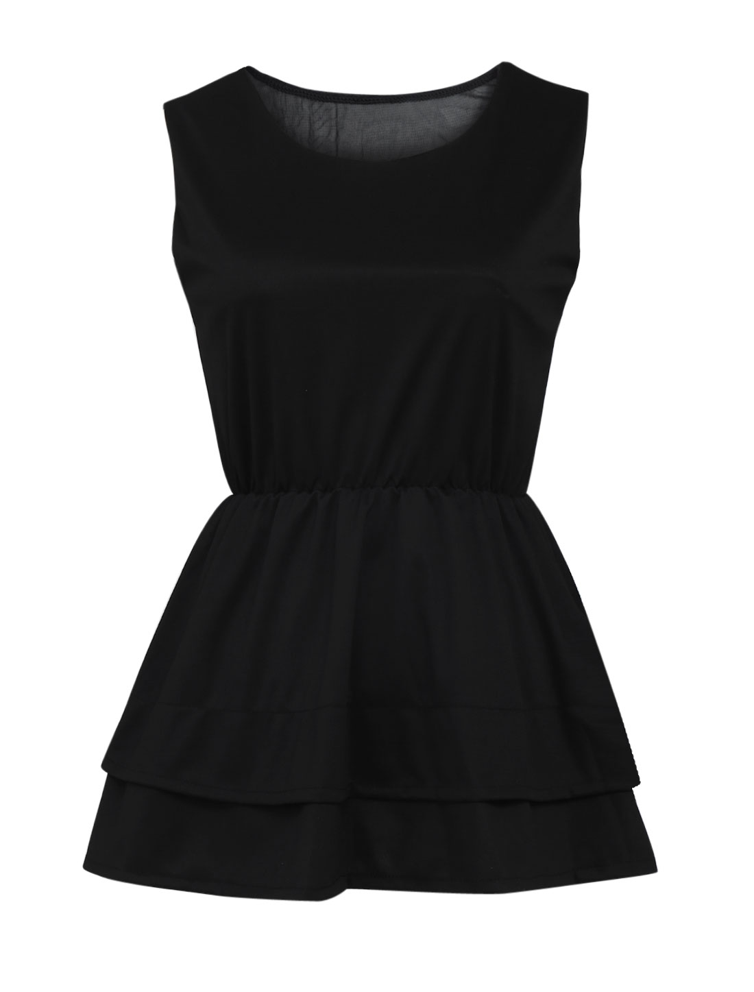 Lady Round Neck Sleeveless Mesh Panel Back Peplum Top Black S