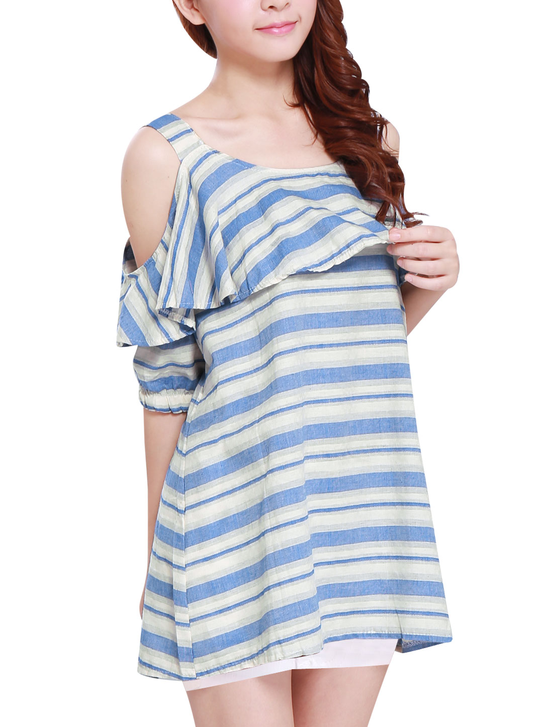 Lady Cut Out Shoulder Stripes Ruffled Upper Linen Tunic Top Blue White S