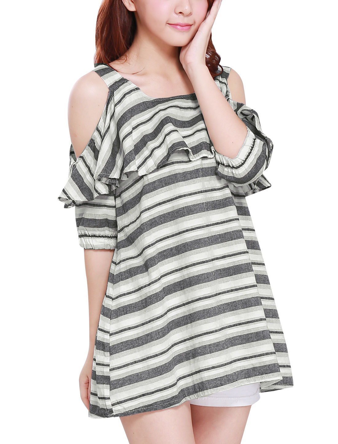 Lady Elastic Cuffs Stripes Ruffled Upper Linen Tunic Top Black White S