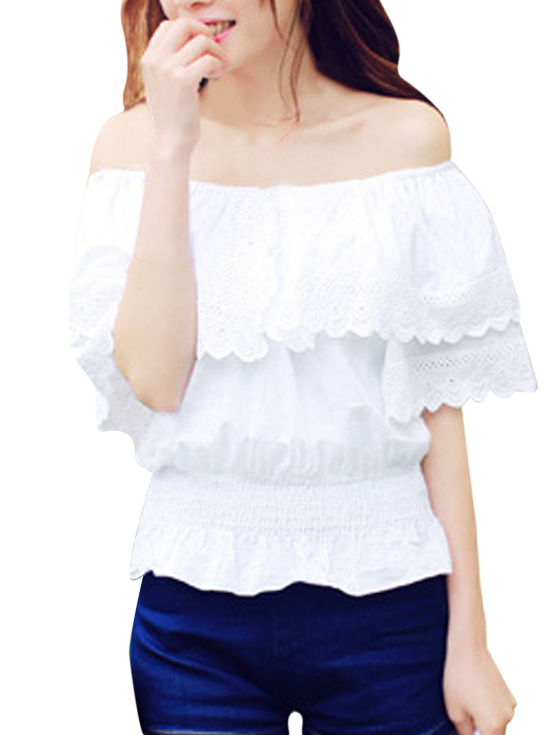 Lady Lace Trimmed Elastic Waist Flounce Off Shoulder Blouse White XS