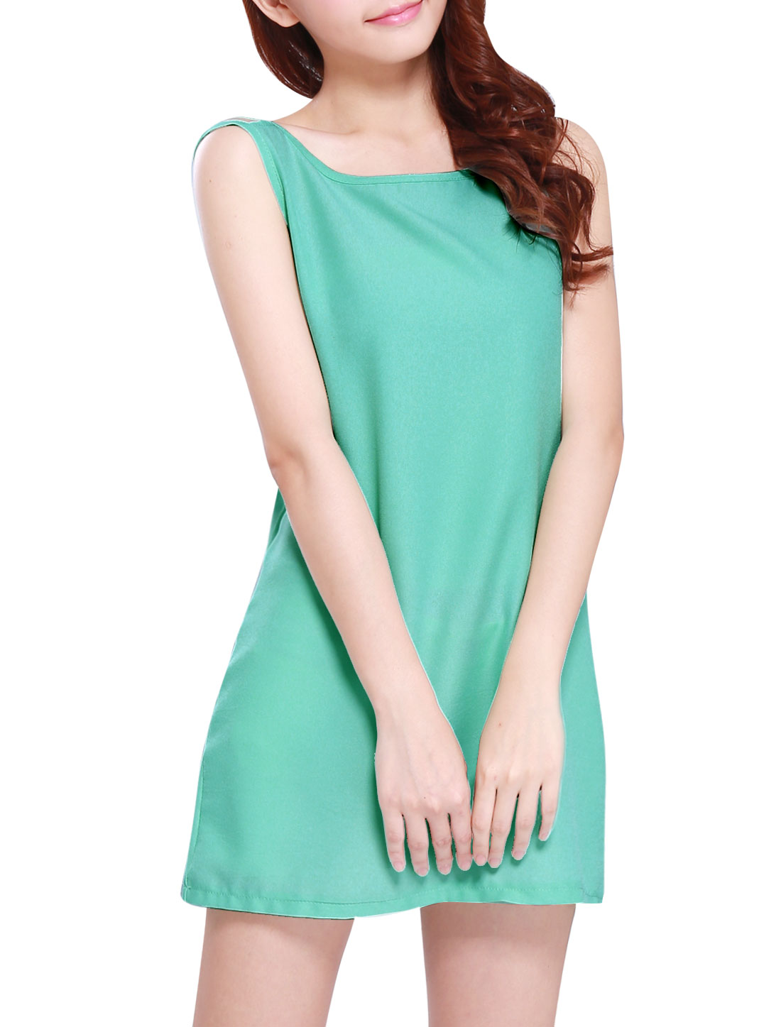 Ladies Slipover Scoop Neck Pure Design Summer Tank Dress Aqua XS