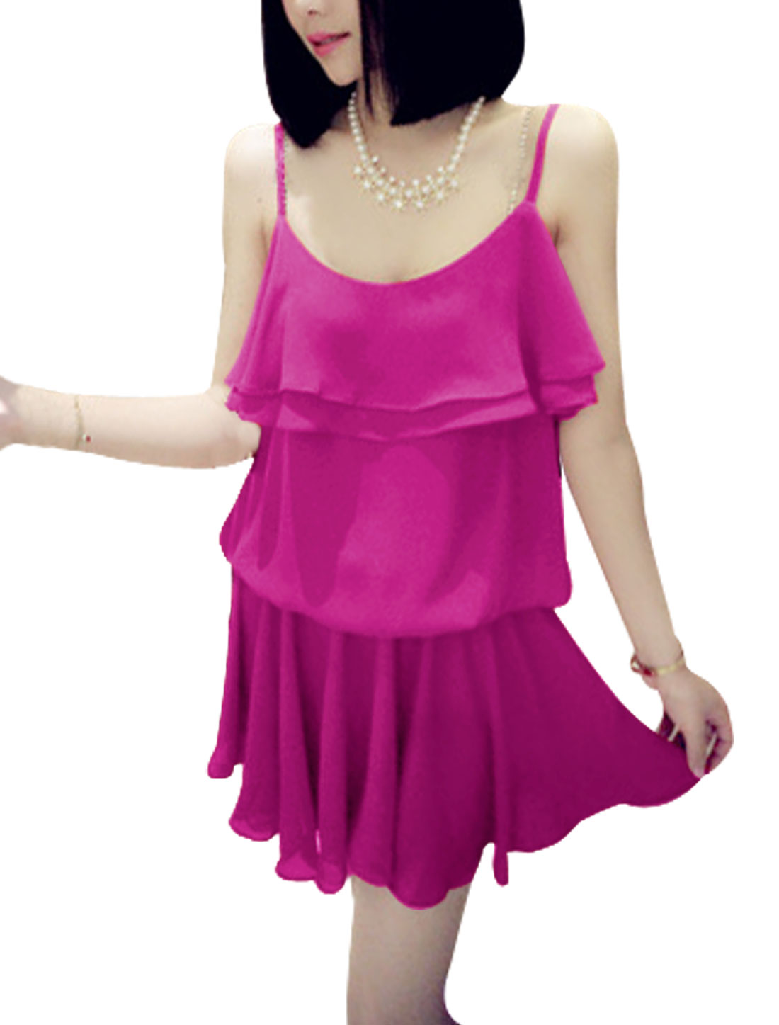 Lady Spaghetti Strap Layered Flouncing Top Dress Fuchsia S