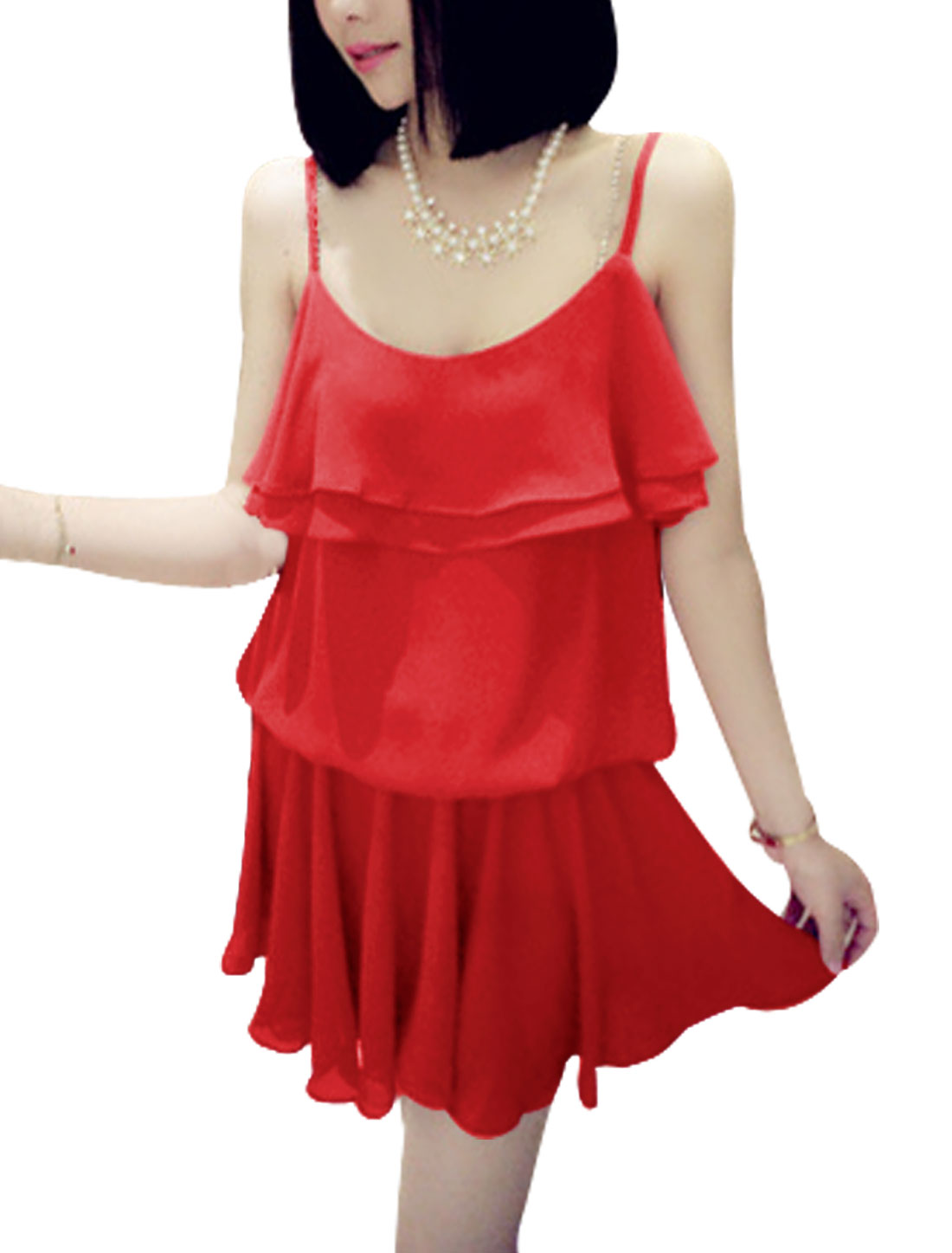 Lady Slipover Scoop Neck Tiered Flouncing Top Dress Red S