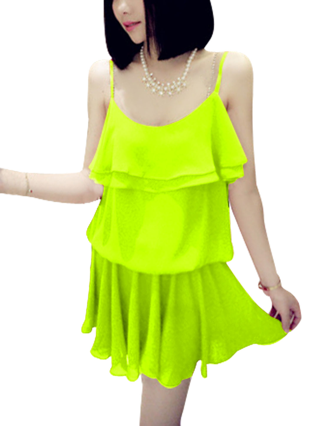 Lady Scoop Neck Spaghetti Strap Dress Yellow Green S