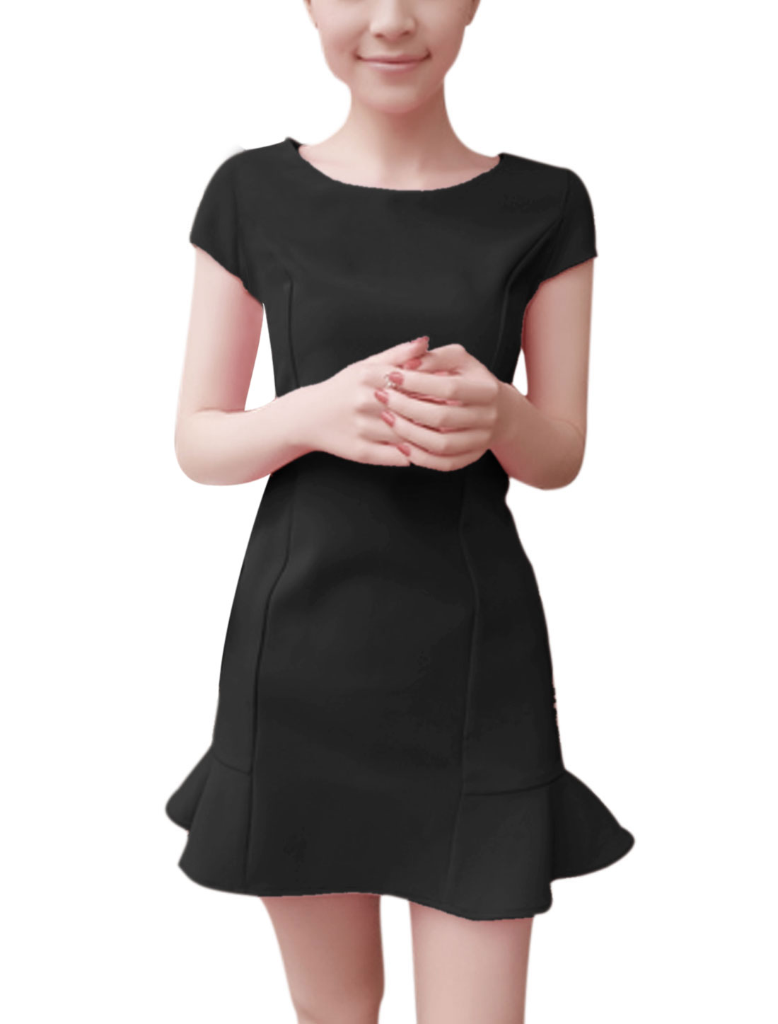 Lady Summer Wear Cap Sleeves Ruffle Hem Black Slim Stretch Dress S